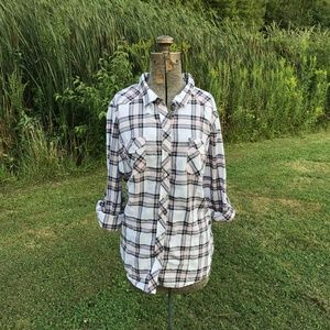 Torrid Gray & Pink Plaid Camp Shirt